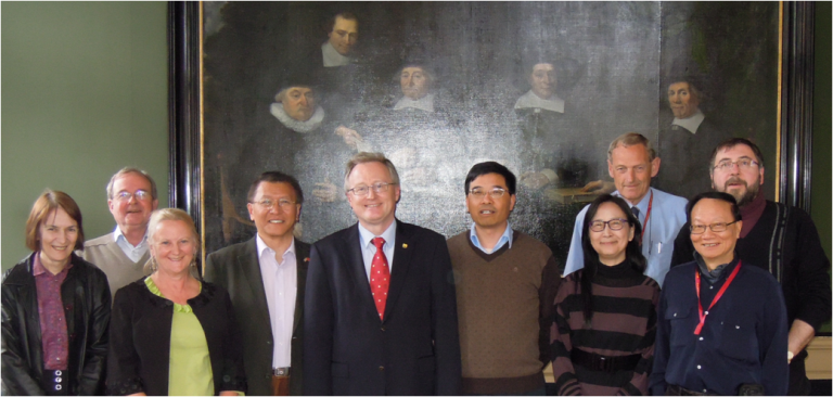 Board of Directors Prof. Monique Simmonds, Prof. Peter Hylands (Treasurer), Prof. Nicola Robinson, Dr. Tai-Ping Fan (Secretary-General), Prof. Rudolf Bauer (President), Dr. Qihe Xu (Deputy Secretary-General), Prof. Vivan Wong, Prof. Rob Verpoorte, Prof. Kelvin Chan and Prof. Pierre Duez met on 15th April in Leiden, the Netherlands.